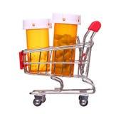 Pigułki butelka w wózek na zakupy odizolowywającym na białym tle Obraz Royalty Free