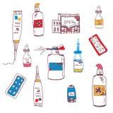 Pigułki i medyczny butelki doodle ilustracja wektor