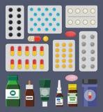 Pigułki Packss i Ciekli Medyczni sposoby w butelkach ilustracja wektor
