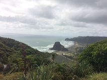 Piha海滩新的Zeland 库存照片
