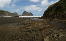 Piha beach. South Piha beach, western shore of Auckland, New Zealand stock photo