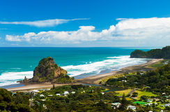 Piha beach. Beautiful Piha beach near Auckland with a mighty Lion Rock, New Zealand Royalty Free Stock Photography