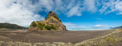 Piha beach. Beautiful Piha beach near Auckland with a mighty Lion Rock, New Zealand. Panoramic photo Royalty Free Stock Photos