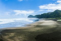 Piha beach. Beautiful Piha beach near Auckland seen from the mighty Lion Rock, New Zealand Stock Photography