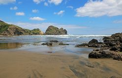 Piha Beach. Landscape with Piha Beach, New Zealand Stock Photos