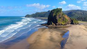 Piha Beach and Lion Rock in the morning sun, New Zealand.  stock photography