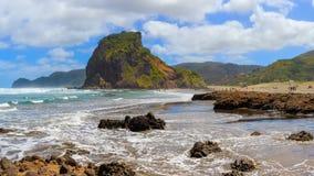 Piha beach with Lion Rock, New Zealand stock photos
