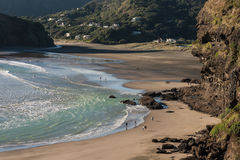 Piha beach at low tide. Piha beach in New Zealand at low tide royalty free stock photography