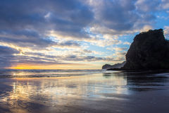 Piha beach. Near to Auckland city, at west coast, the only black sand beach in NZ Stock Images