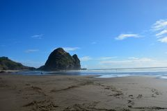 Piha beach in New Zealand. Piha beach with rock formations at the background in New Zealand royalty free stock photo