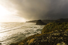Piha Beach, NZ. Piha beach on Auckland's rugged westcoast in a winter storm stock photo