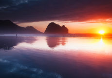 Piha Beach Sunset, New Zealand Royalty Free Stock Photo