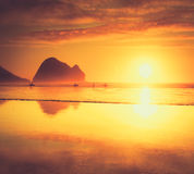 Piha Beach Sunset, New Zealand Stock Images