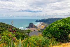 Piha beach view, western coast of Auckland royalty free stock image