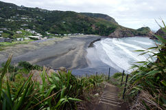 Piha - New Zealand. Aerial view of Piha beach from the top of the Lion rock in Piha, New Zealand Royalty Free Stock Image