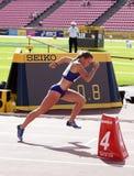Piibe Kirke ALJAS running 400m hurdles run in the IAAF World U20 Championship in Tampere, Finland 11 July, 2018 stock image