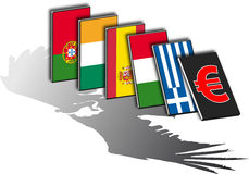 Piigs domino vulture. Shadow of a vulture over 5 european flags from countries in crisis Stock Image