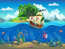 Piirate ship on background of tropical island. Vector cartoon illustration of a pirate ship on a background of a tropical island in the ocean among fish Royalty Free Stock Images