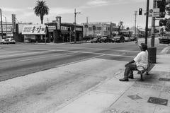 Pijący na chodniczku, Los Angeles, Czarny I Biały zdjęcie royalty free