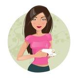 pij kawy dziewczyna również zwrócić corel ilustracji wektora Zdjęcia Stock