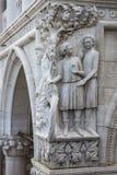Pijaństwo Noah - architektoniczny szczegół kolumna przy doża pałac, Wenecja, Włochy obraz stock