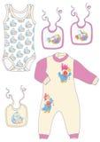 Pijamas para crianças, bodysuits, babadores, Imagens de Stock