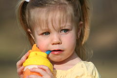 pijany małej dziewczynki Obraz Royalty Free