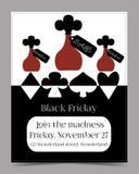 Pije ja butelka Black Friday sztandaru pocztówka Obrazy Royalty Free