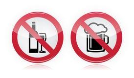 Pije problem - żadny alkoholu znak ostrzegawczy royalty ilustracja