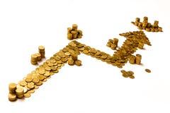 Pijl die die winst tonen van gouden muntstukken wordt gemaakt Stock Afbeeldingen