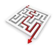 Pijl die door het labyrint gaat Stock Fotografie