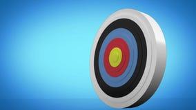 Pijl die naar dartboard vliegen en doel raken vector illustratie