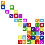 Pijl die uit de tablet en smartphone wordt samengesteld apps Stock Foto's