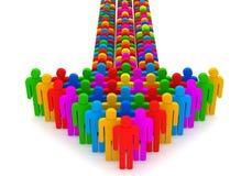 Pijl die van kleurrijke 3d mensen wordt gemaakt Stock Foto's