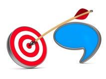 Pijl en dartboard op witte achtergrond Geïsoleerde 3D illustratio Stock Afbeelding
