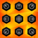 Pijl. Hexagonale die pictogrammen op abstracte sinaasappel terug worden geplaatst Stock Foto