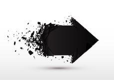 Pijl met geïsoleerd puin 3d zwart teken met explosieeffect Stock Foto's