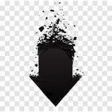 Pijl met geïsoleerd puin Zwart teken met explosieeffect Vector illustratie Royalty-vrije Stock Afbeeldingen