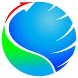 Pijl met glob Royalty-vrije Stock Afbeeldingen