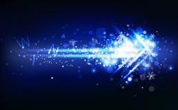 Pijl met lichte de vallende sterrensneeuwvlokken van het de winterbericht, neon het gloeien flikkering, decoratiesneeuw, het conc vector illustratie