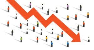 Pijl onderaan de mensenmenigte van de crisiseconomie rond de economieinvestering van de mensen dalende grafiek vector illustratie