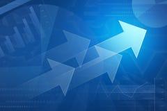 Pijl op financiële grafiek en grafiek voor bedrijfsachtergrond Stock Afbeeldingen