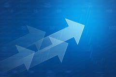 Pijl op financiële grafiek en grafiek voor bedrijfsachtergrond Royalty-vrije Stock Afbeeldingen