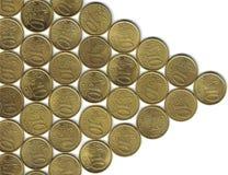 Pijl van euro centen Stock Afbeelding