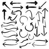 Pijl vectorreeks Krijttekening en van de handtekening pijlreeks Stock Foto's