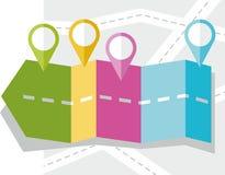 Pijl, weg, kaart, route, voorwerp, pictogram, bestemming, vlakke kleur, Royalty-vrije Stock Foto