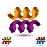 Pijlen abstract symbool, vector conceptueel pictogram Royalty-vrije Stock Afbeelding