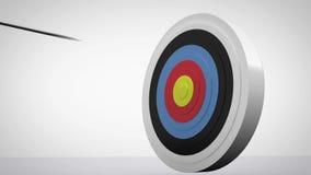 Pijlen die naar dartboard vliegen en doel raken stock illustratie