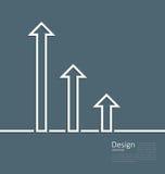 Pijlen die op een verhoging in succes, embleemmalplaatje collectief s wijzen Stock Afbeeldingen