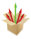 Pijlen die uit doos komen. verschillende bestemmingen royalty-vrije illustratie